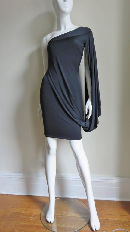 Women's Antonio Berardi Silk Drape Sleeve Dress For Sale