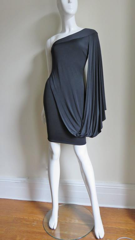 Antonio Berardi Silk Drape Sleeve Dress In Excellent Condition For Sale In New York, NY