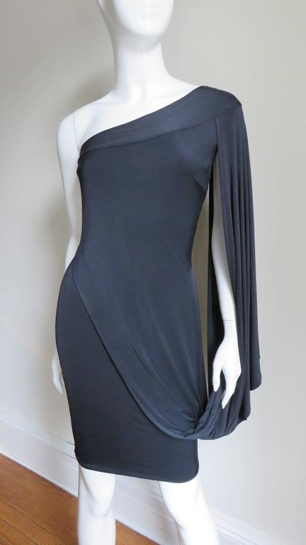 Black Antonio Berardi Silk Drape Sleeve Dress For Sale