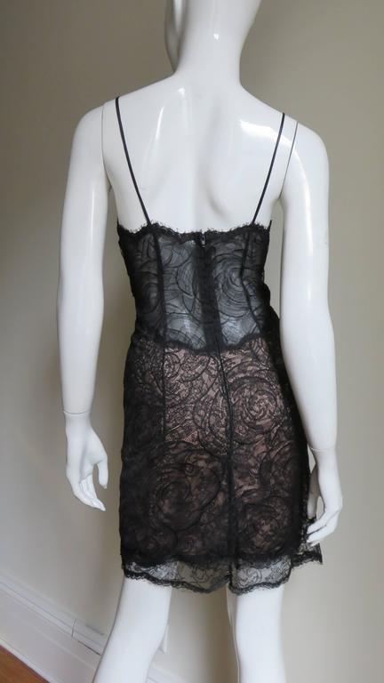 1980s Geoffrey Beene Silk Lace Slip Dress For Sale 2