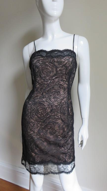 1980s Geoffrey Beene Silk Lace Slip Dress In Good Condition For Sale In New York, NY