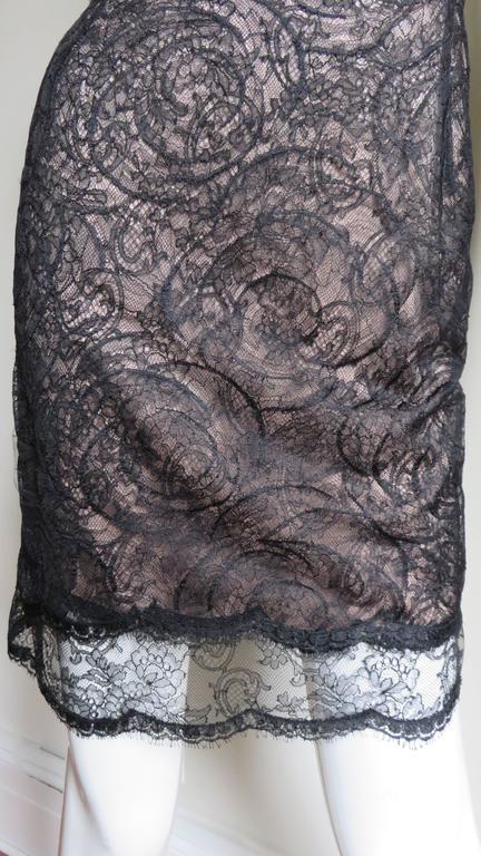 Black 1980s Geoffrey Beene Silk Lace Slip Dress For Sale