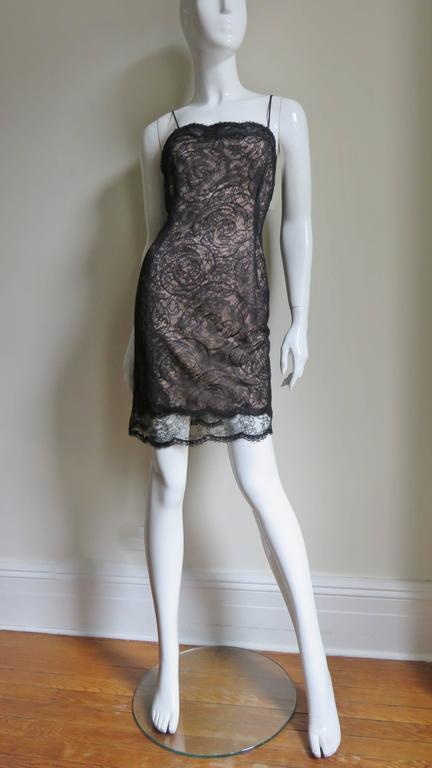 1980s Geoffrey Beene Silk Lace Slip Dress For Sale 1