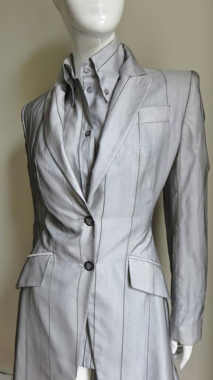 Gray 1999 Alexander McQueen Silk Shirt & Long Jacket For Sale
