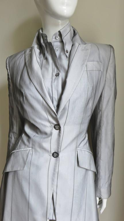 1999 Alexander McQueen Silk Shirt & Long Jacket In New never worn Condition For Sale In New York, NY