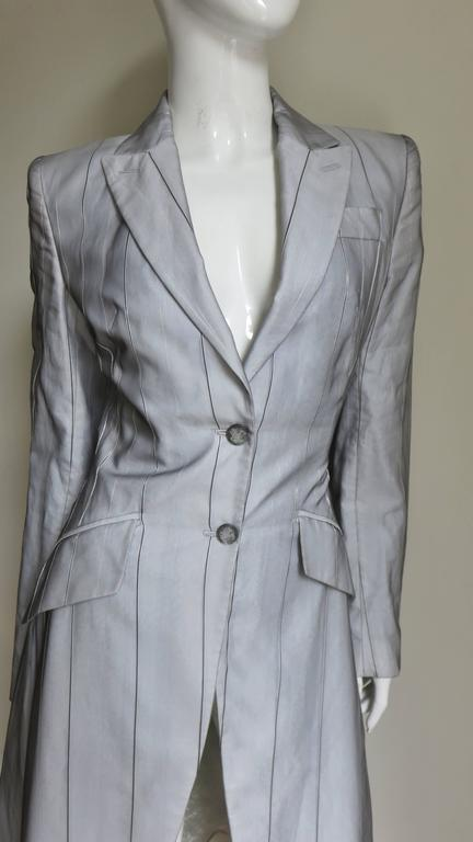 Women's 1999 Alexander McQueen Silk Shirt & Long Jacket For Sale
