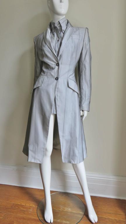 1999 Alexander McQueen Silk Shirt & Long Jacket For Sale 2