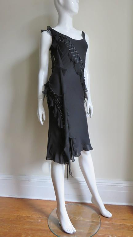 Women's John Galliano for Chrisitian Dior Vintage Laceup Silk Dress For Sale