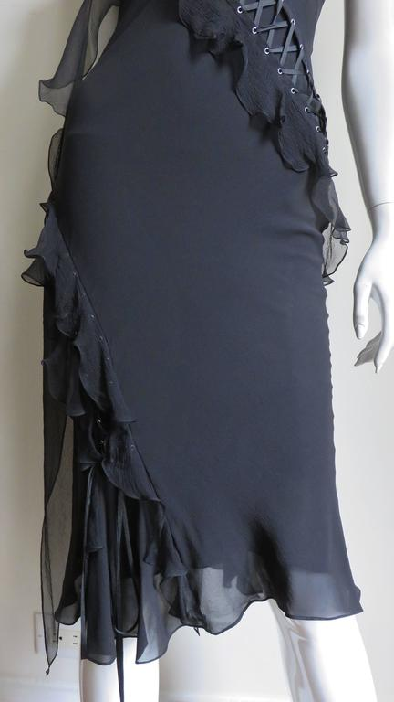John Galliano for Chrisitian Dior Vintage Laceup Silk Dress In Good Condition For Sale In New York, NY
