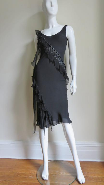 John Galliano for Chrisitian Dior Vintage Laceup Silk Dress For Sale 1