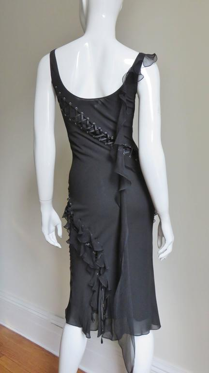John Galliano for Chrisitian Dior Vintage Laceup Silk Dress For Sale 2