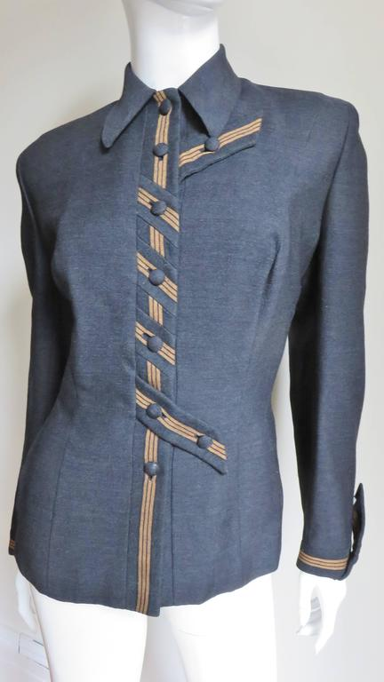 Gray 1940's Sally Milgrim Jacket with Tabs For Sale