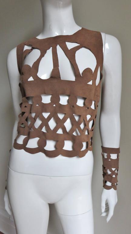 Ferragamo Fabulous Suede Cutout Top & Cuffs 4