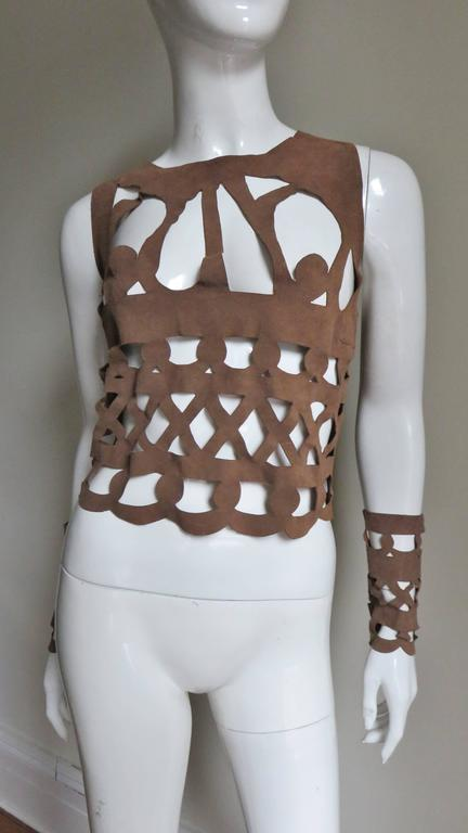 Ferragamo Fabulous Suede Cutout Top & Cuffs 5