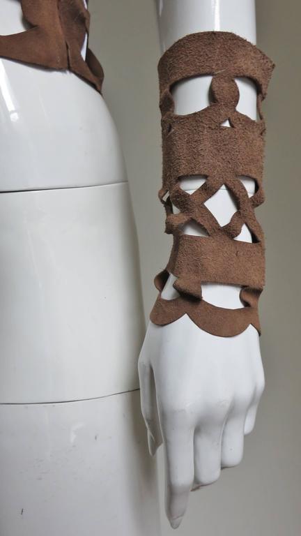 Ferragamo Fabulous Suede Cutout Top & Cuffs 6