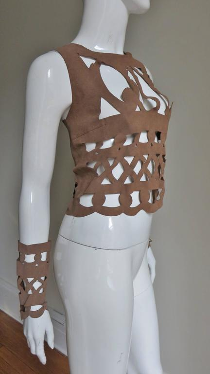 Ferragamo Fabulous Suede Cutout Top & Cuffs 7
