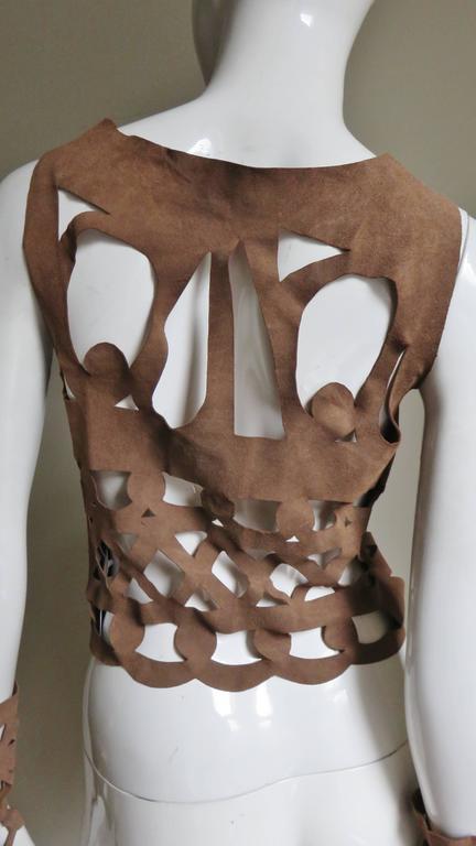Ferragamo Fabulous Suede Cutout Top & Cuffs 9