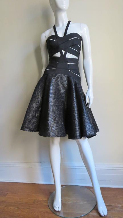 Versace Runway Cutout Bandage Dress With Full Skirt 5