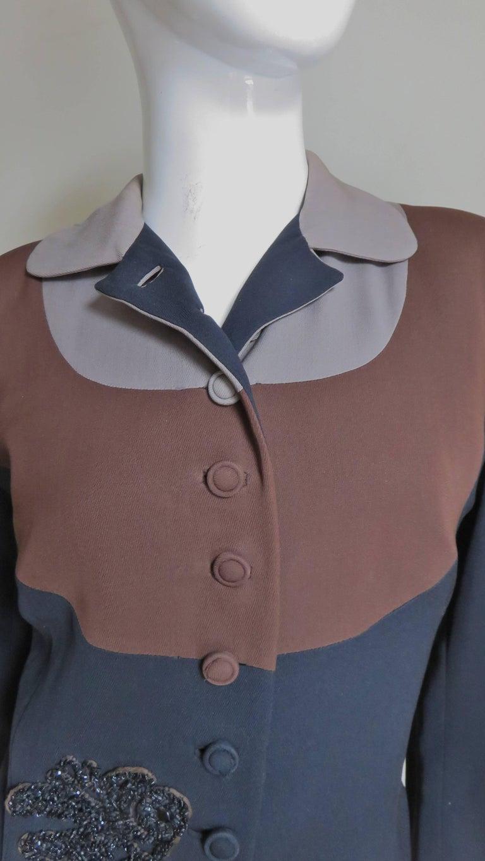 Black Eisenberg Originals 1950s Color Block Jacket For Sale