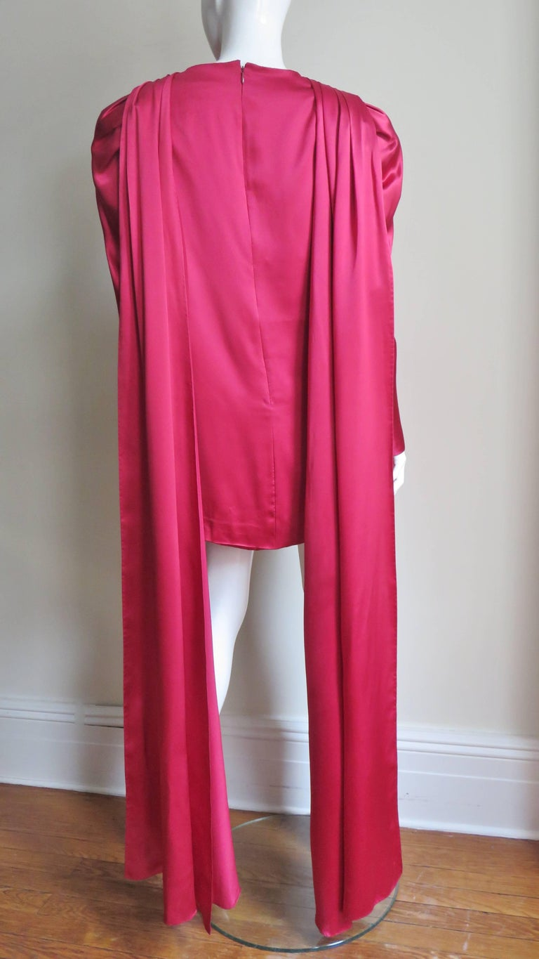 1980s Wallace Slove Mini Dress With Draping 9