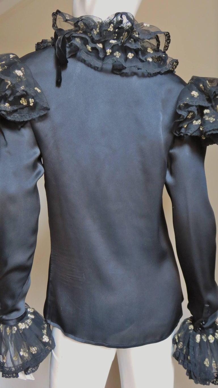 Valentino Boutique Silk Ruffle Neck Blouse 1980s For Sale 6