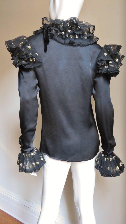 Valentino Boutique Silk Ruffle Neck Blouse 1980s For Sale 7