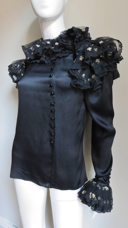 Black Valentino Boutique Silk Ruffle Neck Blouse 1980s For Sale
