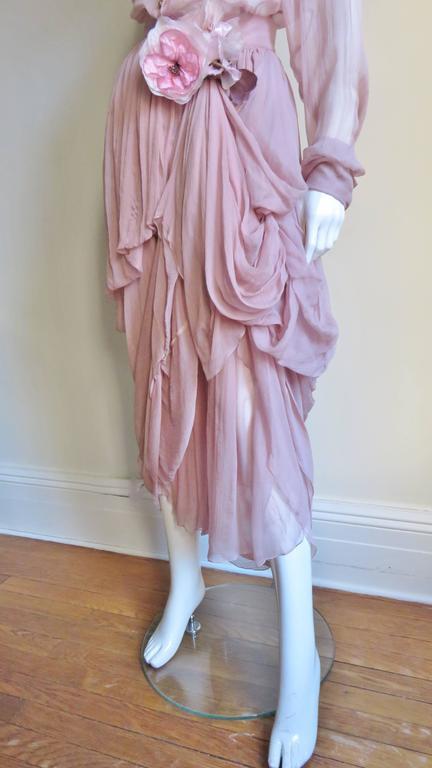 Women's 1990s Dolce & Gabbana Draped Silk Skirt and Shirt For Sale