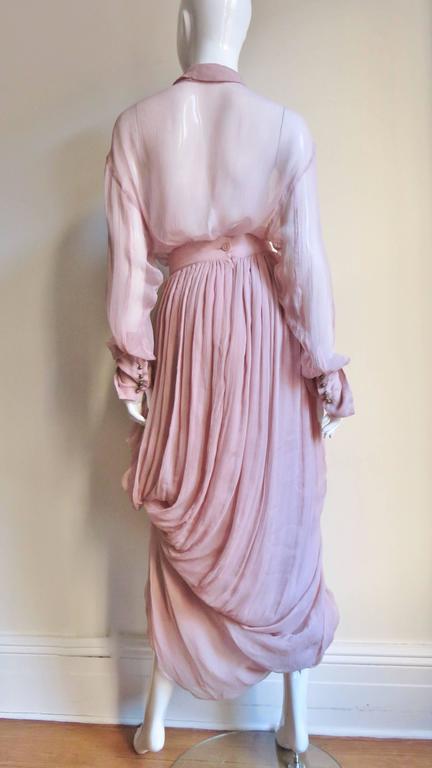 1990s Dolce & Gabbana Draped Silk Skirt and Shirt For Sale 4