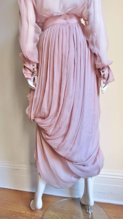 1990s Dolce & Gabbana Draped Silk Skirt and Shirt For Sale 3