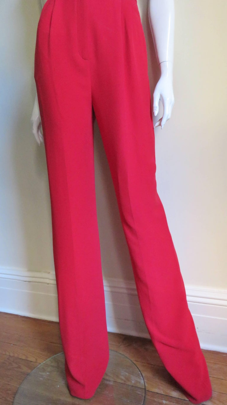 Valentino Plunge Halter Jumpsuit In Good Condition For Sale In New York, NY