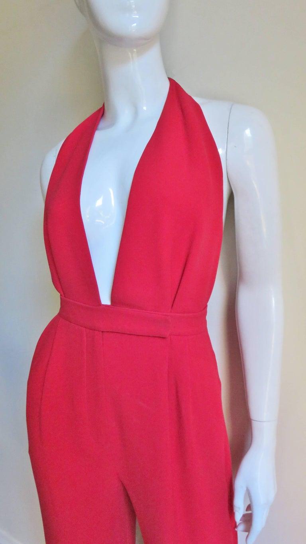 Red Valentino Plunge Halter Jumpsuit For Sale