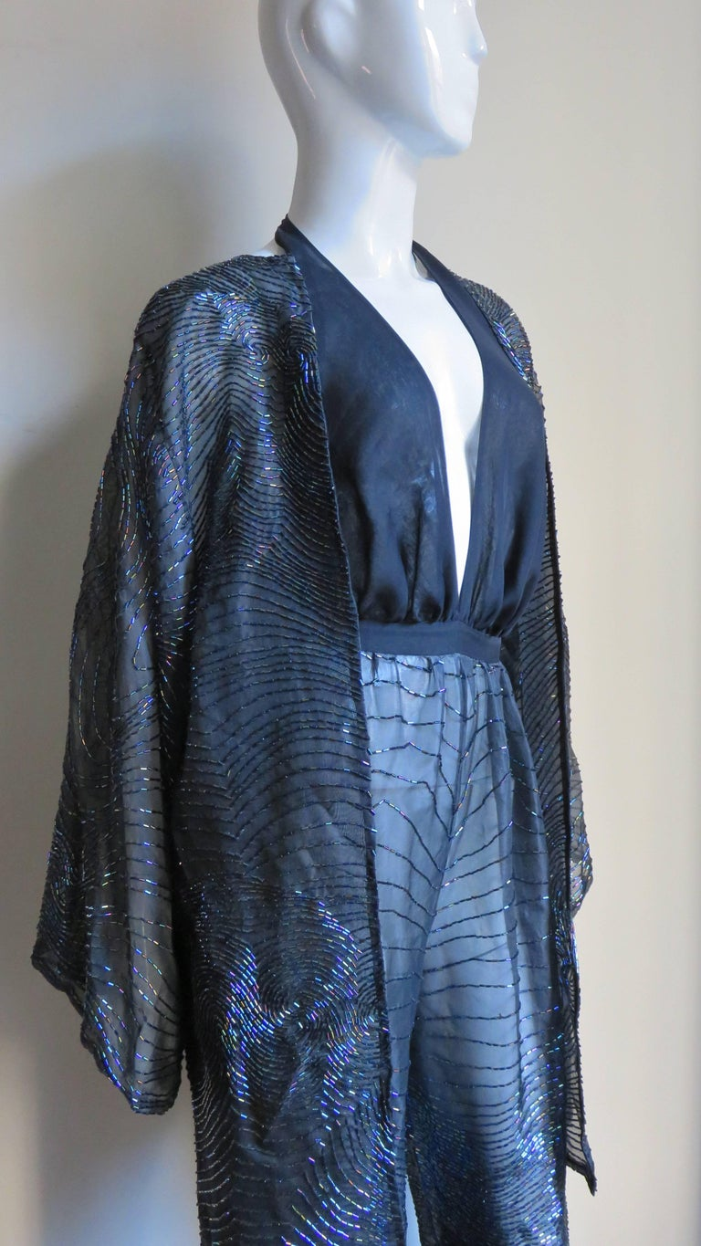 Halston 1970s Plunging Beaded Jumpsuit & Draped Jacket 5