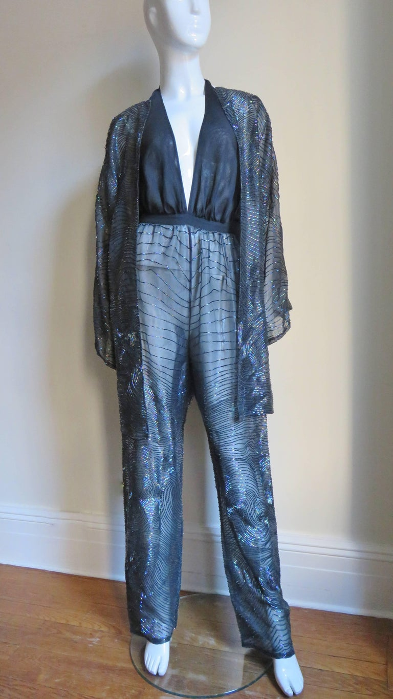 Halston 1970s Plunging Beaded Jumpsuit & Draped Jacket 7
