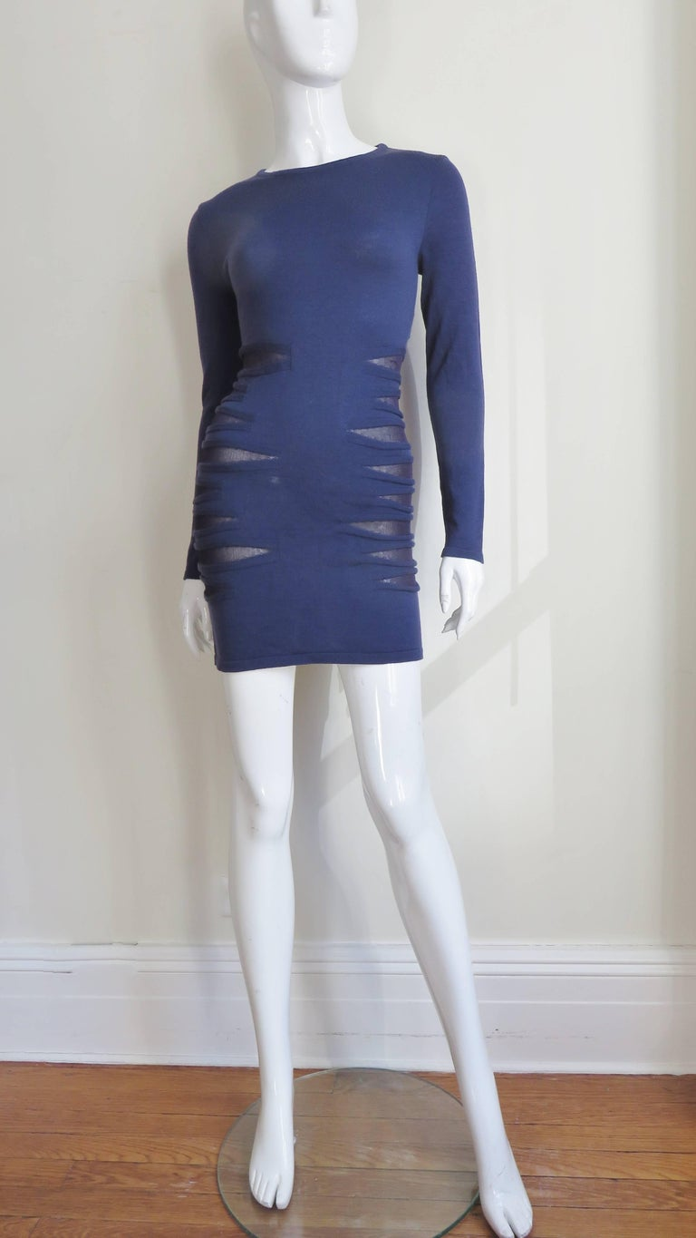 Versace Navy Blue Bodycon Dress with Side Mesh Cut Outs For Sale 4