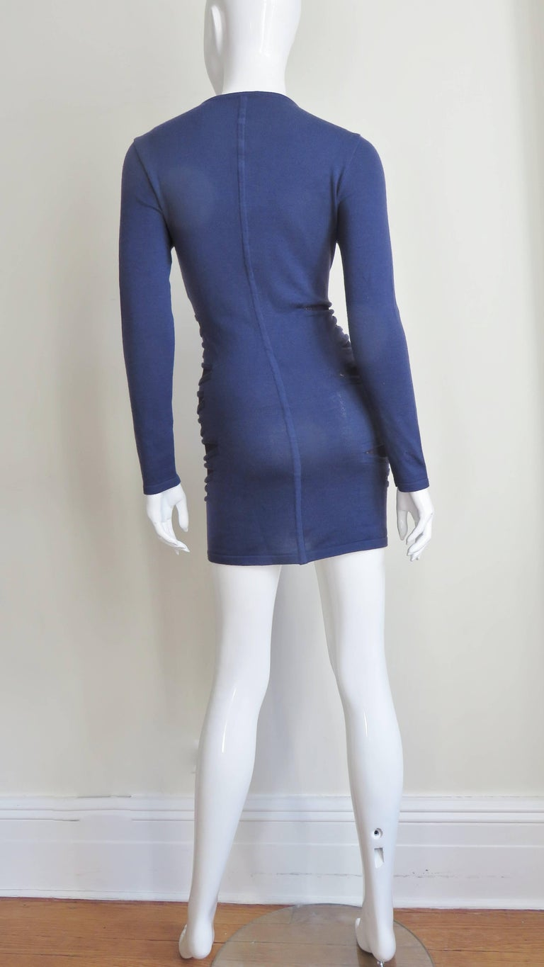 Versace Navy Blue Bodycon Dress with Side Mesh Cut Outs For Sale 9
