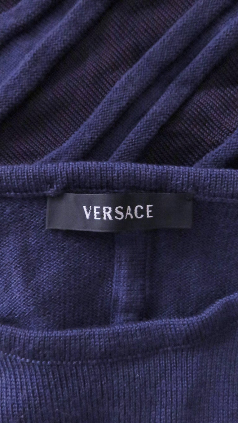 Versace Navy Blue Bodycon Dress with Side Mesh Cut Outs For Sale 10