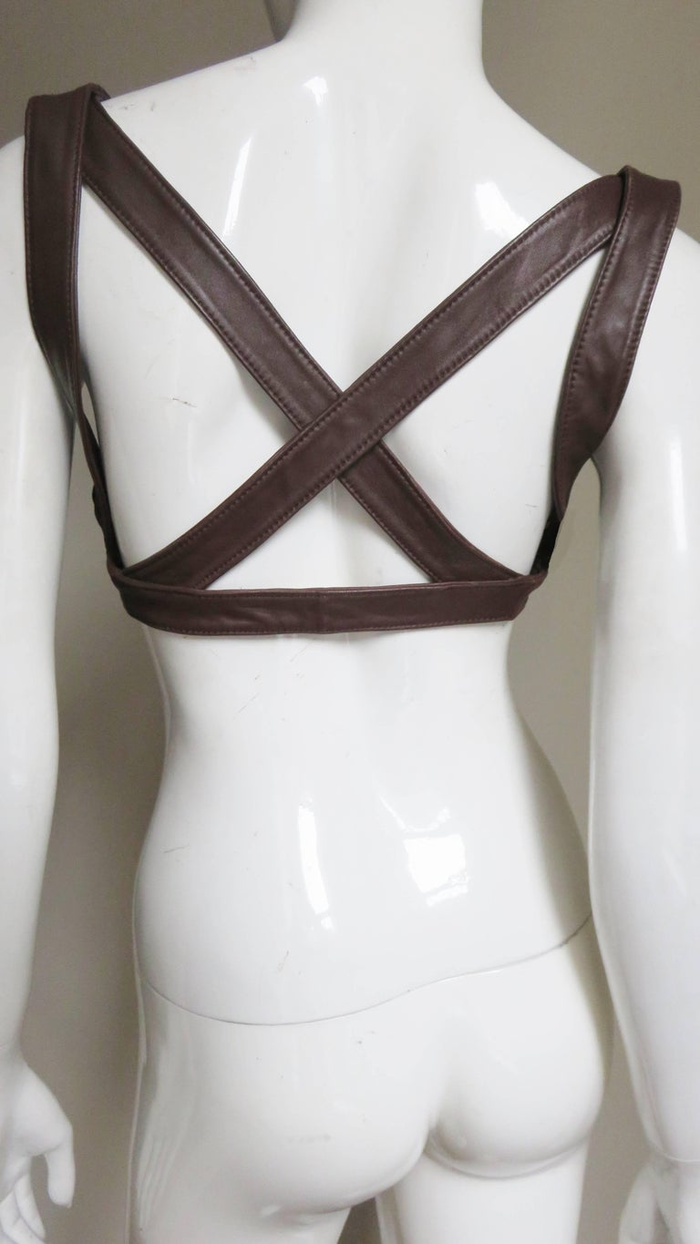 Krizia Leather Harness 1980s For Sale 4