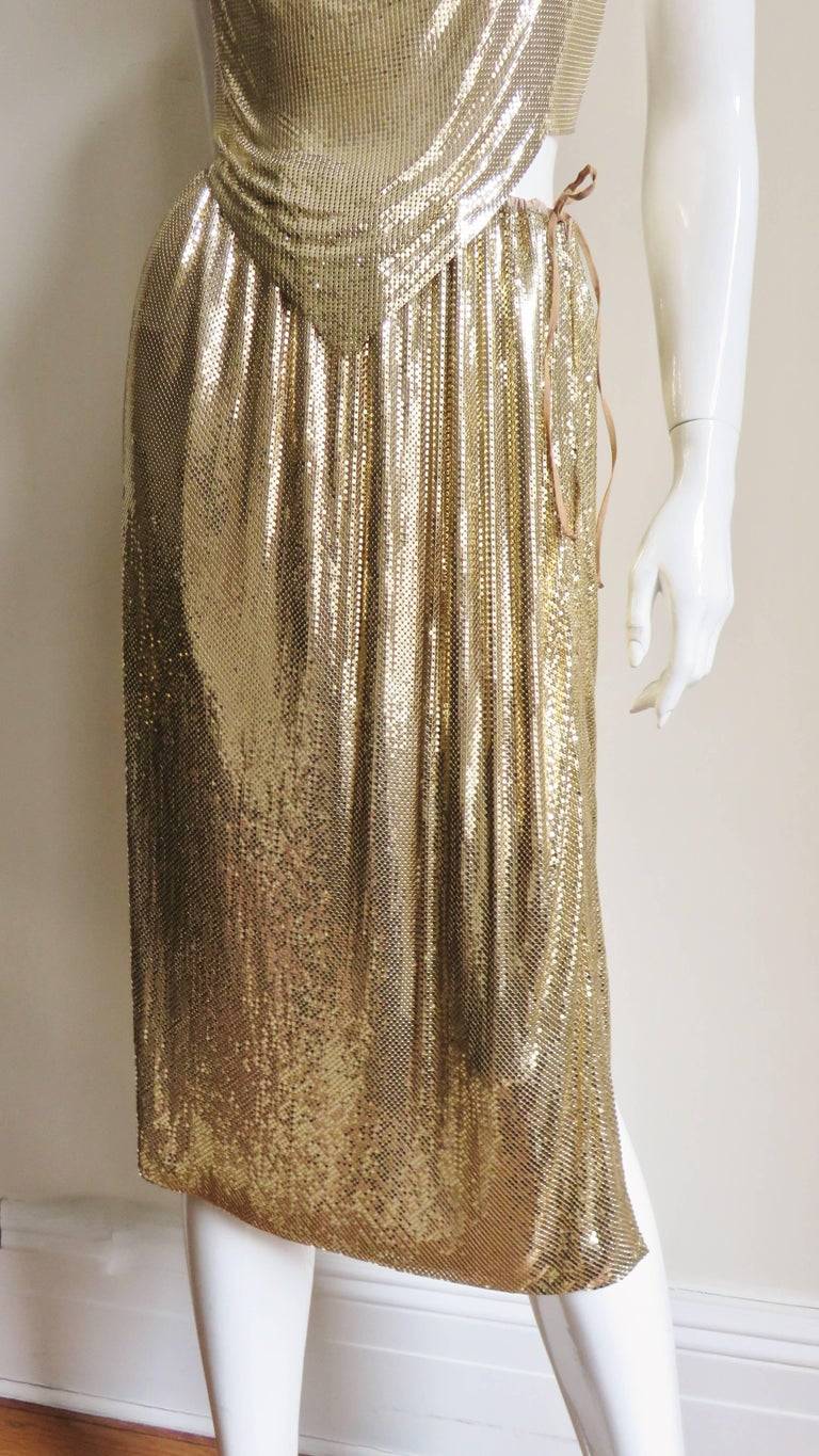 1970s Ferrara Studio 54 Disco Metal Mesh Chainmail Halter & Skirt In Excellent Condition For Sale In New York, NY