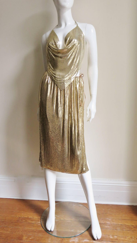 1970s Ferrara Studio 54 Disco Metal Mesh Chainmail Halter & Skirt For Sale 1