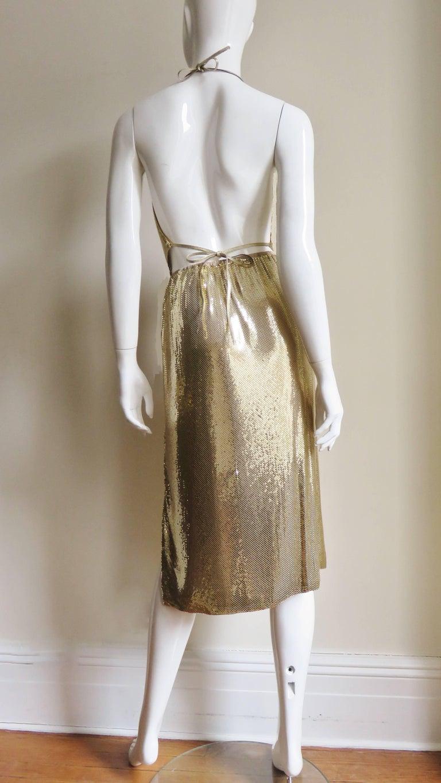 1970s Ferrara Studio 54 Disco Metal Mesh Chainmail Halter & Skirt For Sale 4