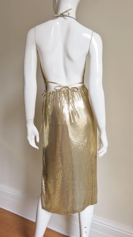 1970s Ferrara Studio 54 Disco Metal Mesh Chainmail Halter & Skirt For Sale 3