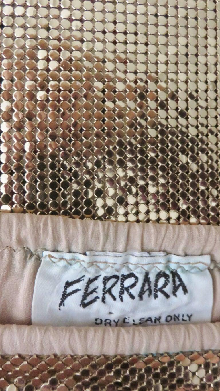 1970s Ferrara Studio 54 Disco Metal Mesh Chainmail Halter & Skirt For Sale 5