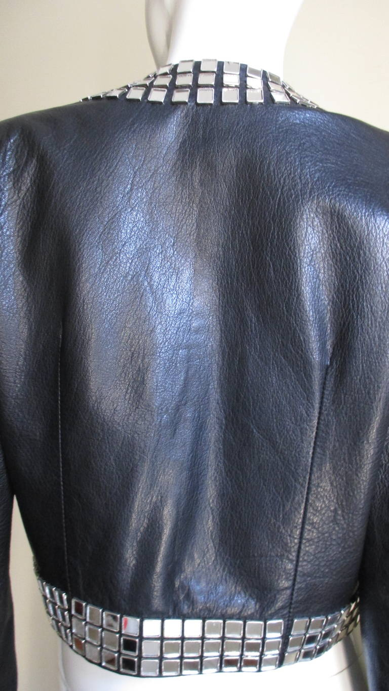 1990S Moschino Leather Jacket with Mirror Trim For Sale 2