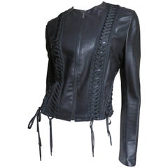 1990s Christian Dior Lace Up Leather Jacket