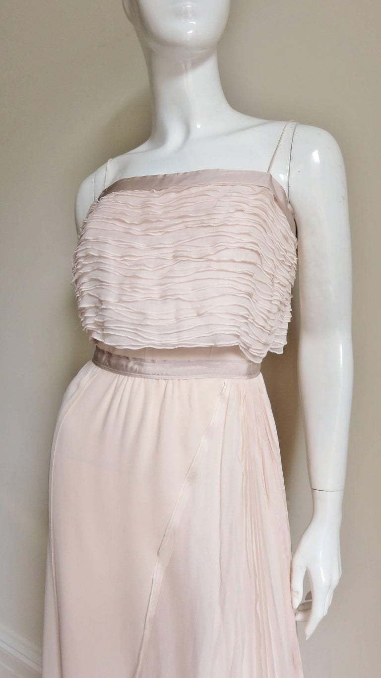 Nina Ricci Blush Silk Gown with Intricate Bodice Detail For Sale at ...