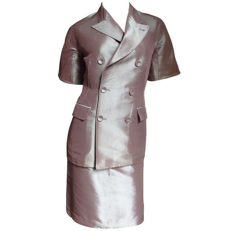 1990s Jean Paul Gaultier Blush Silk Skirt Suit