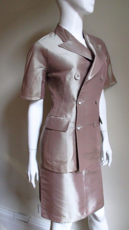 Gray  Jean Paul Gaultier Blush Silk Skirt Suit For Sale
