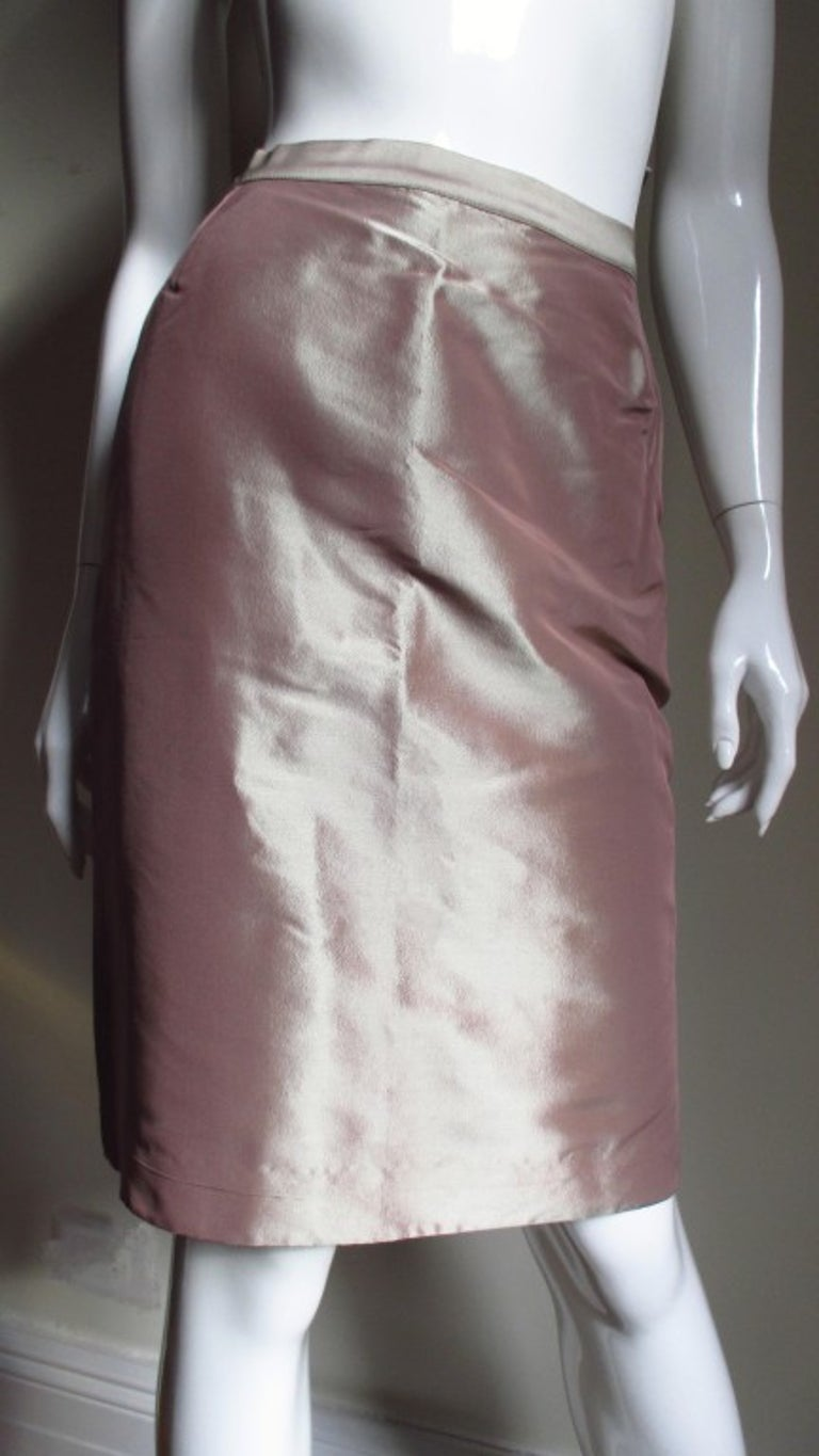 Jean Paul Gaultier Blush Silk Skirt Suit In Good Condition For Sale In New York, NY