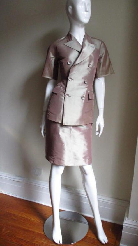 Women's  Jean Paul Gaultier Blush Silk Skirt Suit For Sale